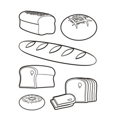 bakery products silhouettes vector image