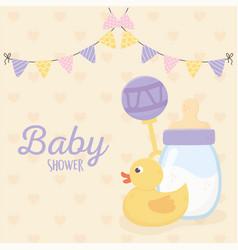 bashower duck rattle and bottle milk vector image