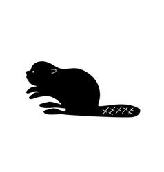 black beaver silhouette vector image