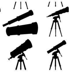 black silhouette seamless pattern telescopes vector image