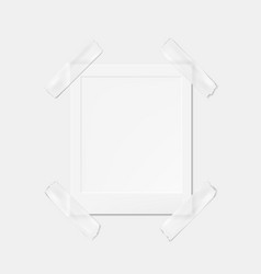 blank photo frame fixed with grey duct tape vector image