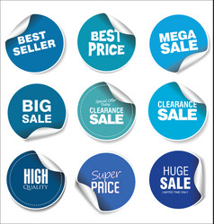 blue sale stickers collection vector image