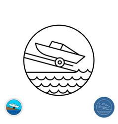 Boat ramp outline icon motor slip round sign vector