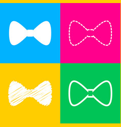 bow tie icon four styles of icon on four color vector image