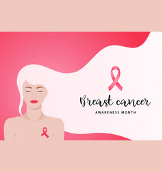 Breast cancer awareness month banner with young vector