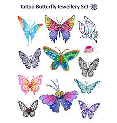 Butterfly Jewellery Set Print Cloth vector image