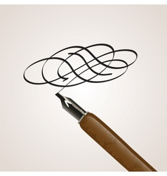 Calligraphy pen made of a twirl vector