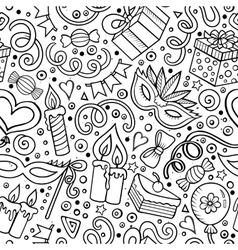 Cartoon hand-drawn doodles birthday theme seamless vector image
