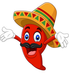 cartoon happy sombrero chili pepper vector image