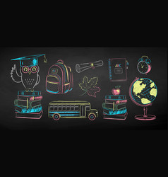 chalk set education items vector image