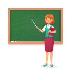 Chalkboard and teacher female professor teach at vector