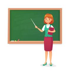 Chalkboard and teacher female professor teach vector