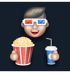 Cinema 3D Glasses Big Popcorn Soda Water Male Guy vector image