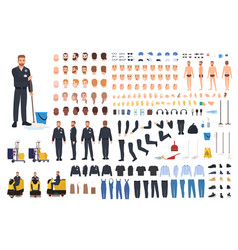 Cleaning service worker creation set vector