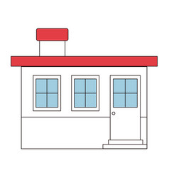 Color sections silhouette small house facade with vector