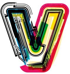 Colorful Grunge font LETTER v vector image