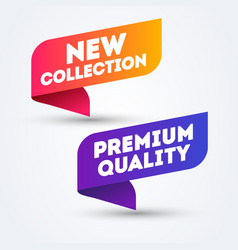colorful label new collection and premium quality vector image