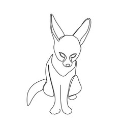 continuous one line drawing a fennec fox vector image