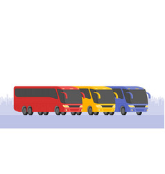 Corner view three bus on the road vector