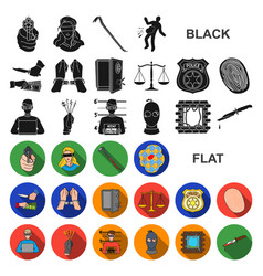 Crime and punishment flat icons in set collection vector