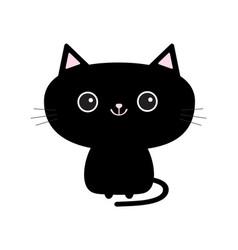 Cute black cat icon funny cartoon character vector