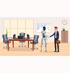 cyborg and businessman flat vector image