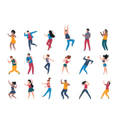 dancing people trendy party cartoon crowd modern vector image