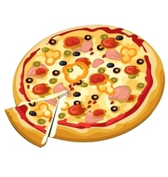 Delicious pizza with olives ham and sweet pepper vector