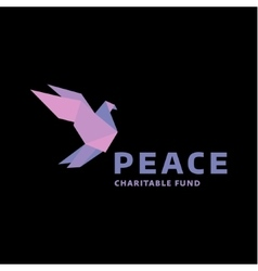 Dove of peace logo in the style origami vector image