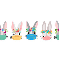 easter coronavirus bunnies with face mask seamless vector image