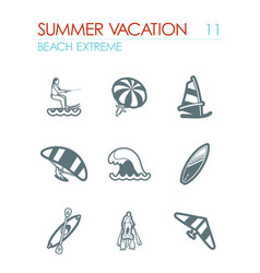 extreme water sport icon set summer vacation vector image