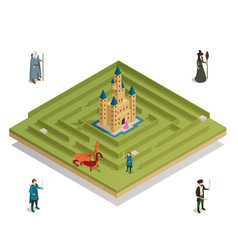 Fairy tale game isometric composition vector
