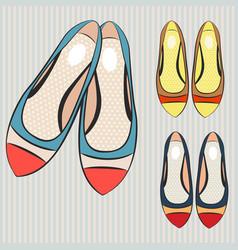 Fashion set flat shoes for women vector