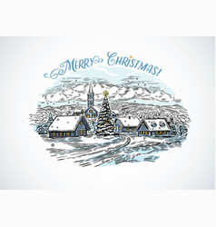 festive winter countryside landscape drawing vector image
