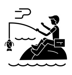Fishing man with rod icon vector