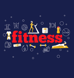 Fitness flat poster vector