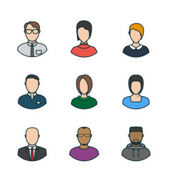 Flat people faces vector