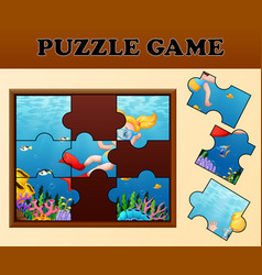 girl diving in undersea with puzzle concept vector image