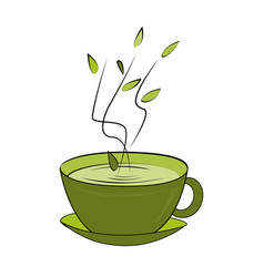 Green tea cup hot smelling tea in ceramic cup vector