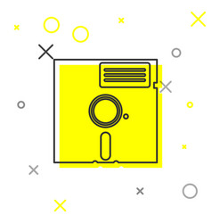 Grey floppy disk in 525-inch line icon vector