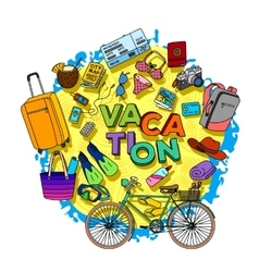 hand drawn vacation doodle vector image