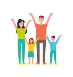 happy family colorful icon in cartoon style vector image