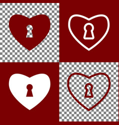 Heart with lock sign bordo and white vector