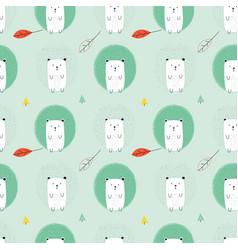 hedgehog print design seamless pattern vector image
