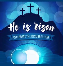 Hi is risen easter holy week banner navy blue vector