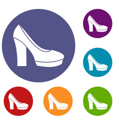 high heel shoes icons set vector image