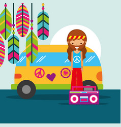 Hippie man with van and radio musical retro vector