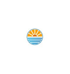 horizon nature sea and sun logo vector image