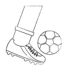 Leg kicking a soccer ball vector