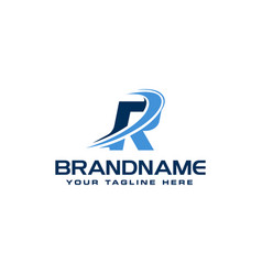 letter r technology solution logo design concept vector image